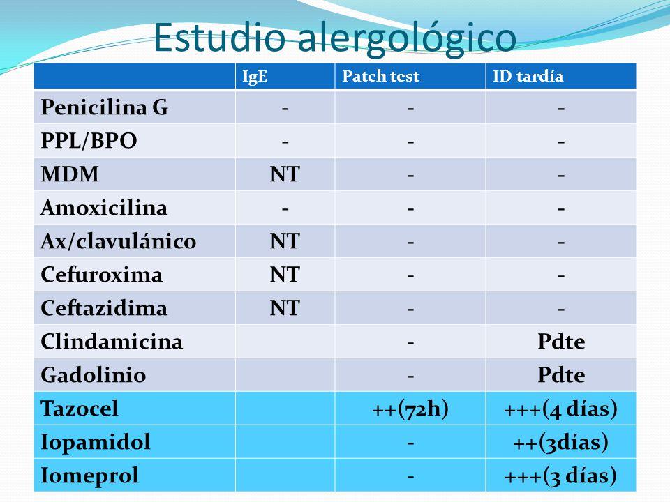 Estudio alergológico Penicilina G - PPL/BPO MDM NT Amoxicilina
