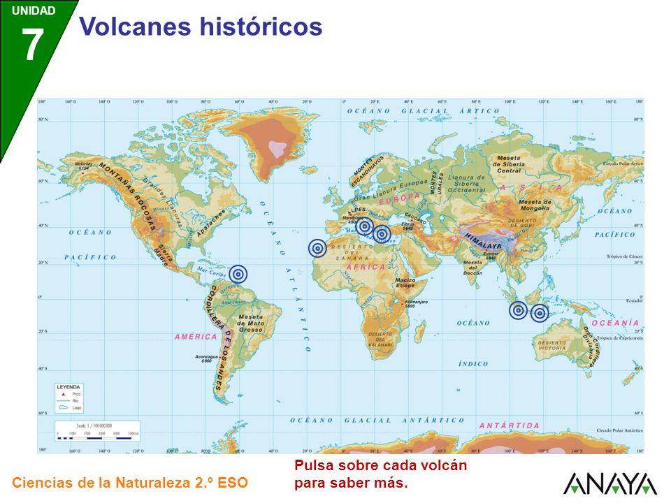 Volcanes históricos Pulsa sobre cada volcán para saber más.