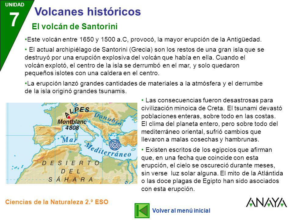 Volcanes históricos El volcán de Santorini