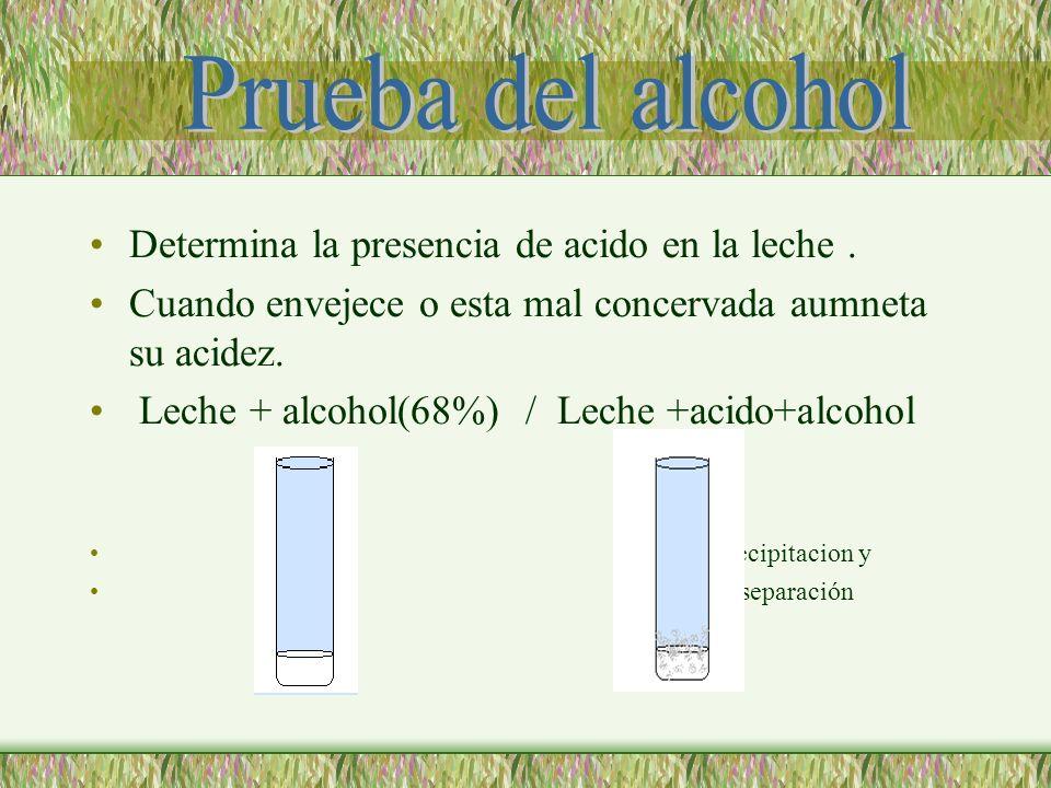 Prueba del alcohol Determina la presencia de acido en la leche .