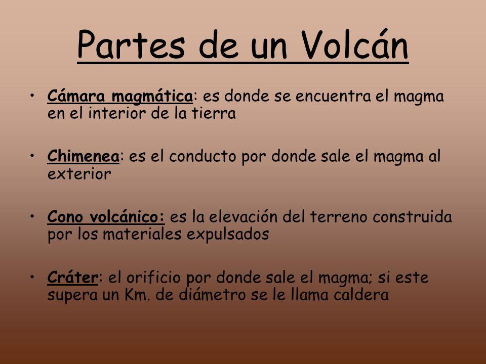 Partes de un Volcán Cámara magmática: es donde se encuentra el magma en el interior de la tierra.