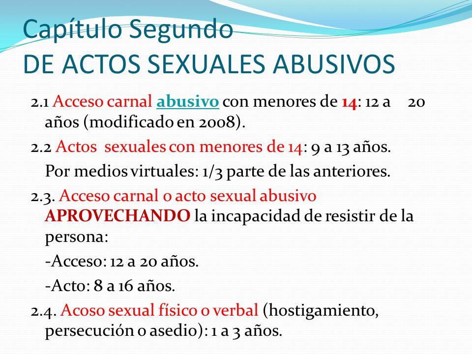 Capítulo Segundo DE ACTOS SEXUALES ABUSIVOS