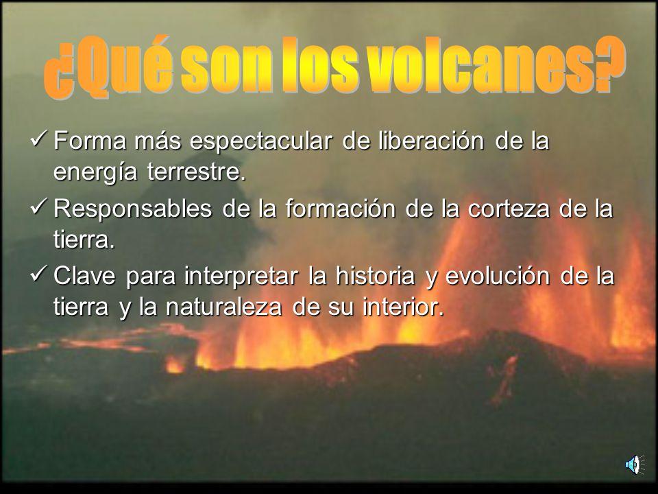 ¿Qué son los volcanes Forma más espectacular de liberación de la energía terrestre. Responsables de la formación de la corteza de la tierra.