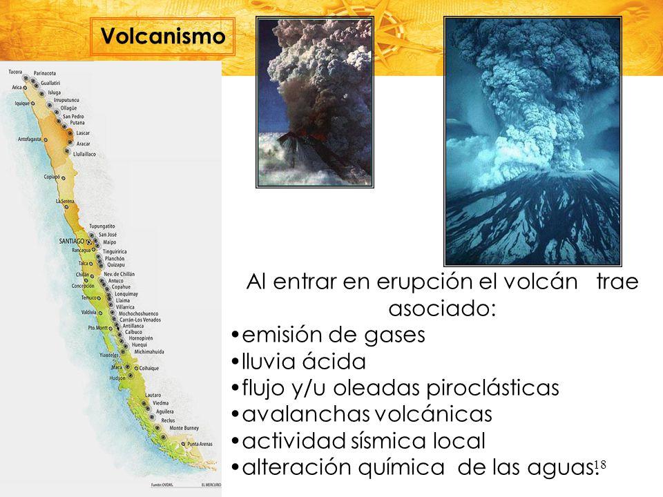Al entrar en erupción el volcán trae asociado: