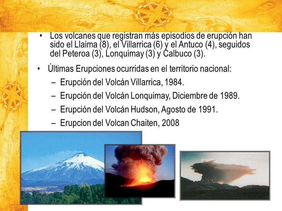 Los volcanes que registran más episodios de erupción han sido el Llaima (8), el Villarrica (6) y el Antuco (4), seguidos del Peteroa (3), Lonquimay (3) y Calbuco (3).