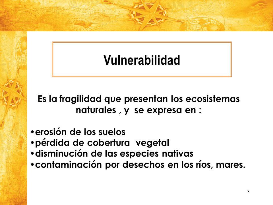 Vulnerabilidad Es la fragilidad que presentan los ecosistemas naturales , y se expresa en : erosión de los suelos.