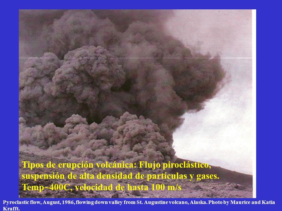 Tipos de erupción volcánica: Flujo piroclástico, suspensión de alta densidad de partículas y gases. Temp~400C, velocidad de hasta 100 m/s