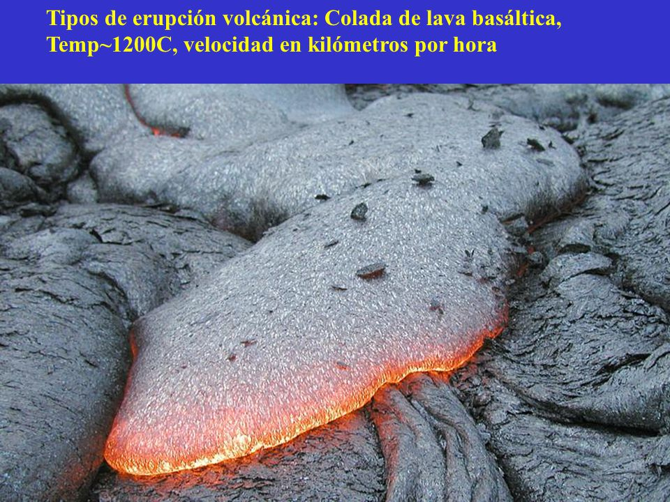 Tipos de erupción volcánica: Colada de lava basáltica, Temp~1200C, velocidad en kilómetros por hora