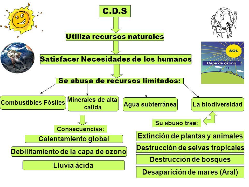 C.D.S Utiliza recursos naturales Satisfacer Necesidades de los humanos