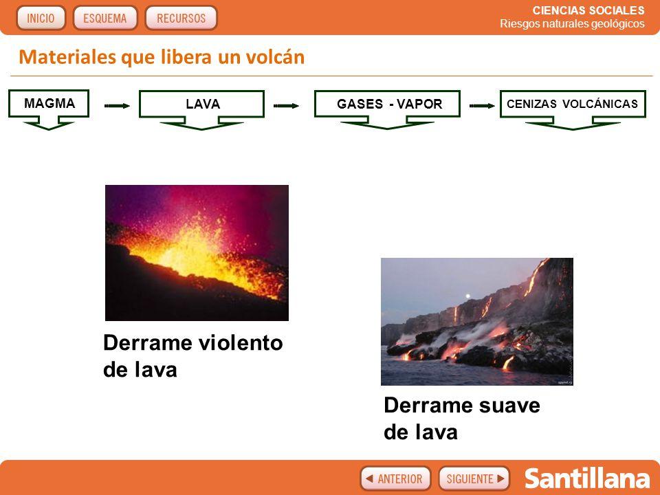 Materiales que libera un volcán