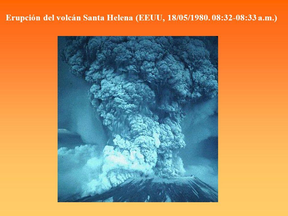 Erupción del volcán Santa Helena (EEUU, 18/05/1980. 08:32-08:33 a.m.)