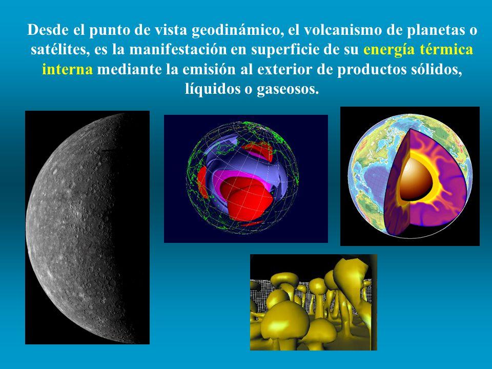 Desde el punto de vista geodinámico, el volcanismo de planetas o satélites, es la manifestación en superficie de su energía térmica interna mediante la emisión al exterior de productos sólidos, líquidos o gaseosos.