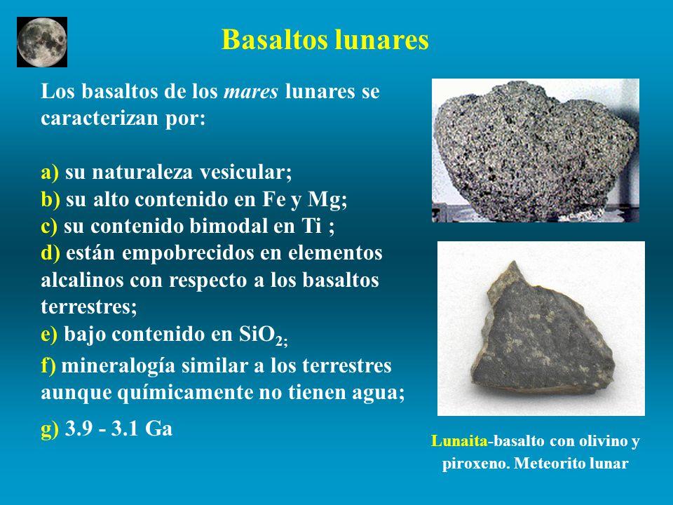 Lunaita-basalto con olivino y piroxeno. Meteorito lunar