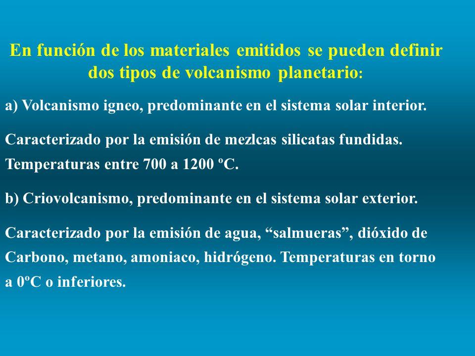 En función de los materiales emitidos se pueden definir dos tipos de volcanismo planetario: