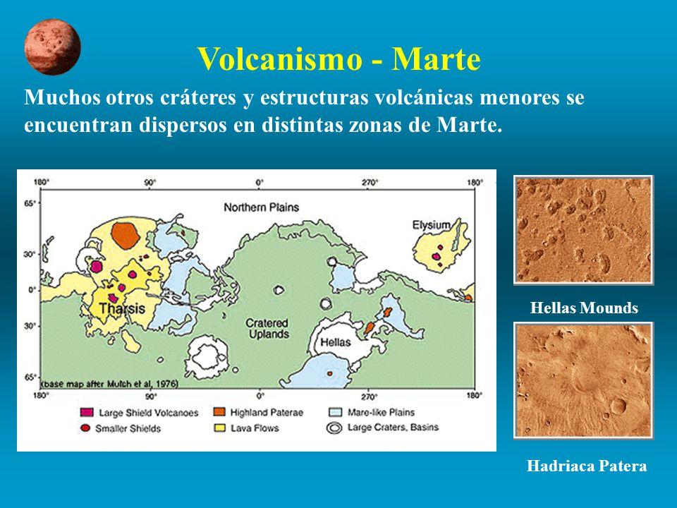 Volcanismo - Marte Muchos otros cráteres y estructuras volcánicas menores se encuentran dispersos en distintas zonas de Marte.