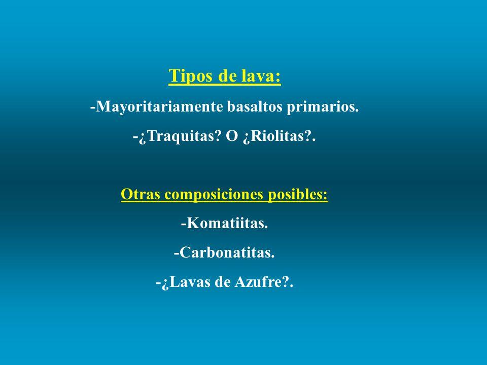 Tipos de lava: -Mayoritariamente basaltos primarios.