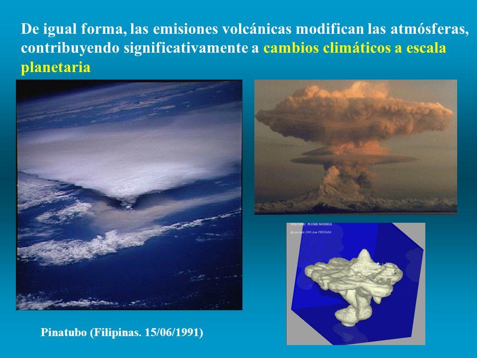De igual forma, las emisiones volcánicas modifican las atmósferas, contribuyendo significativamente a cambios climáticos a escala planetaria