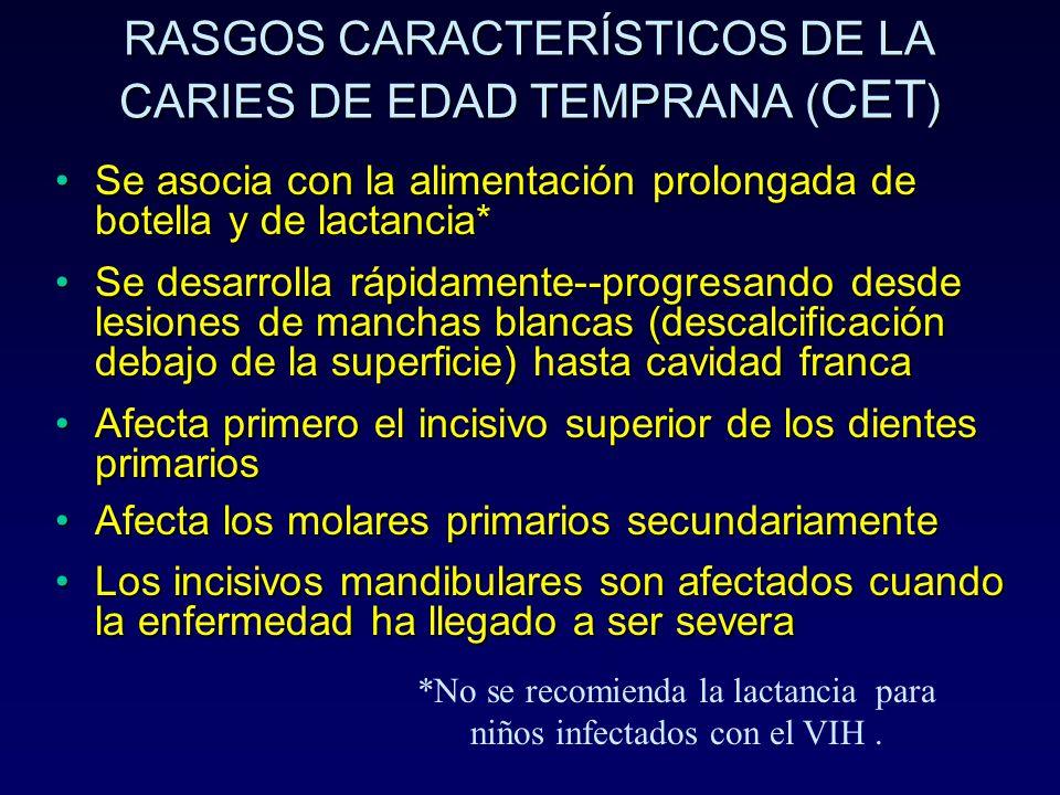 RASGOS CARACTERÍSTICOS DE LA CARIES DE EDAD TEMPRANA (CET)