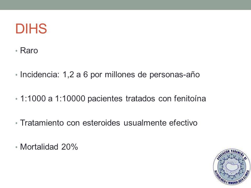 DIHS Raro Incidencia: 1,2 a 6 por millones de personas-año
