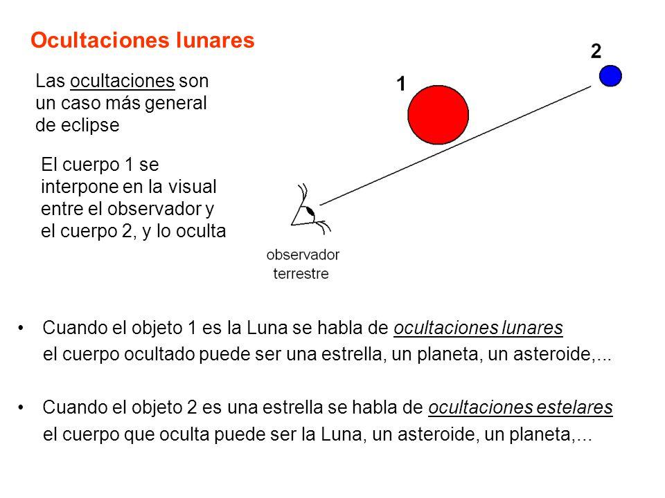 Ocultaciones lunares Las ocultaciones son un caso más general de eclipse.
