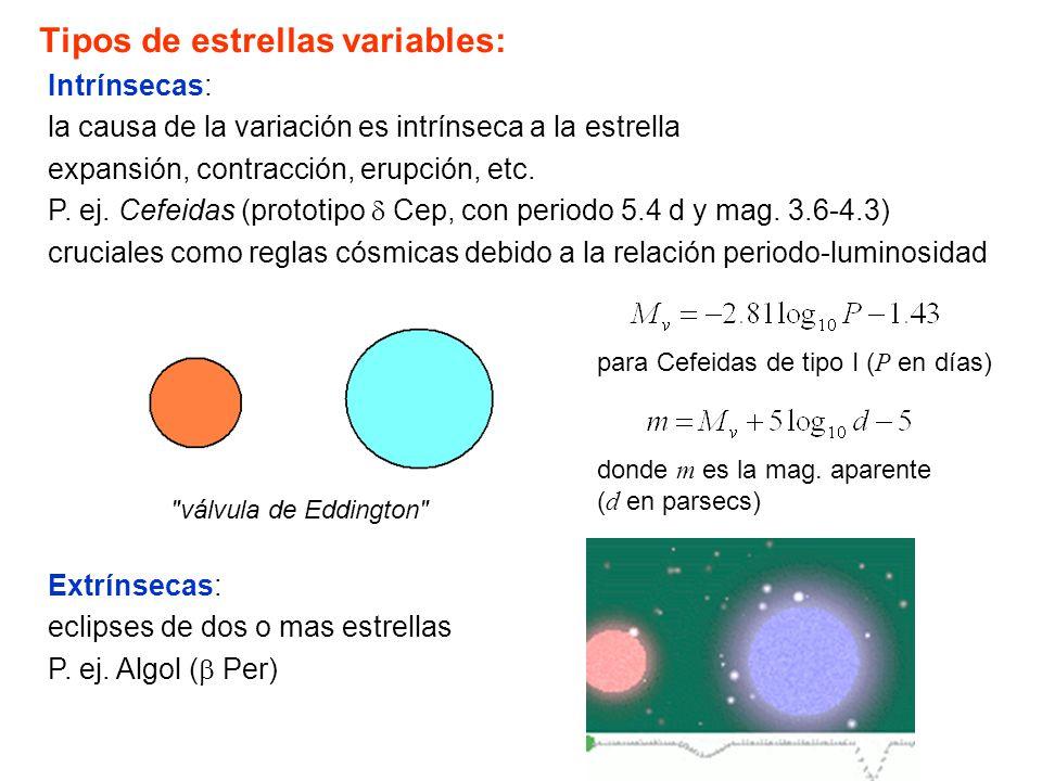 Tipos de estrellas variables: