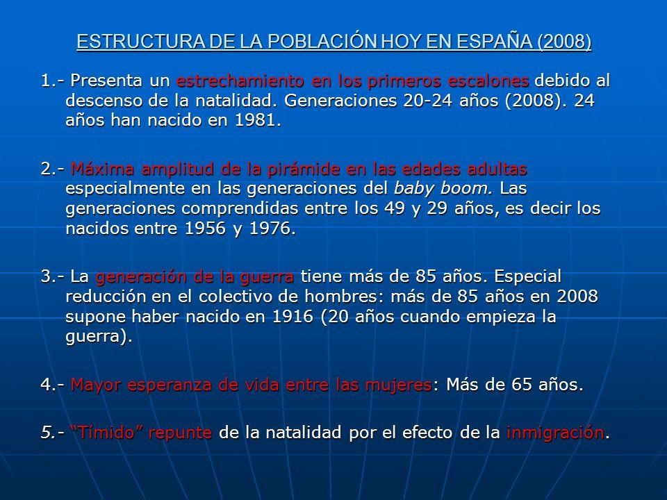 ESTRUCTURA DE LA POBLACIÓN HOY EN ESPAÑA (2008)