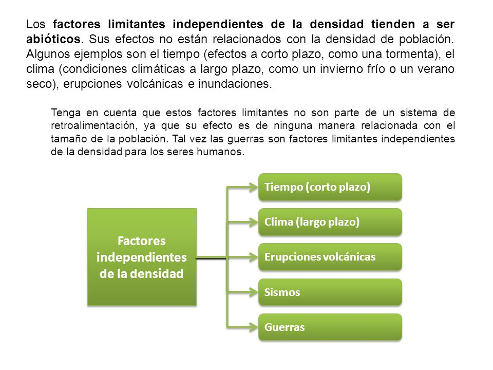 Factores independientes de la densidad