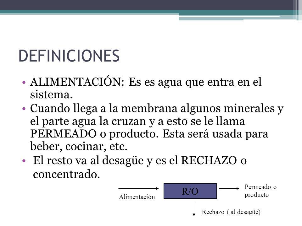 DEFINICIONES ALIMENTACIÓN: Es es agua que entra en el sistema.