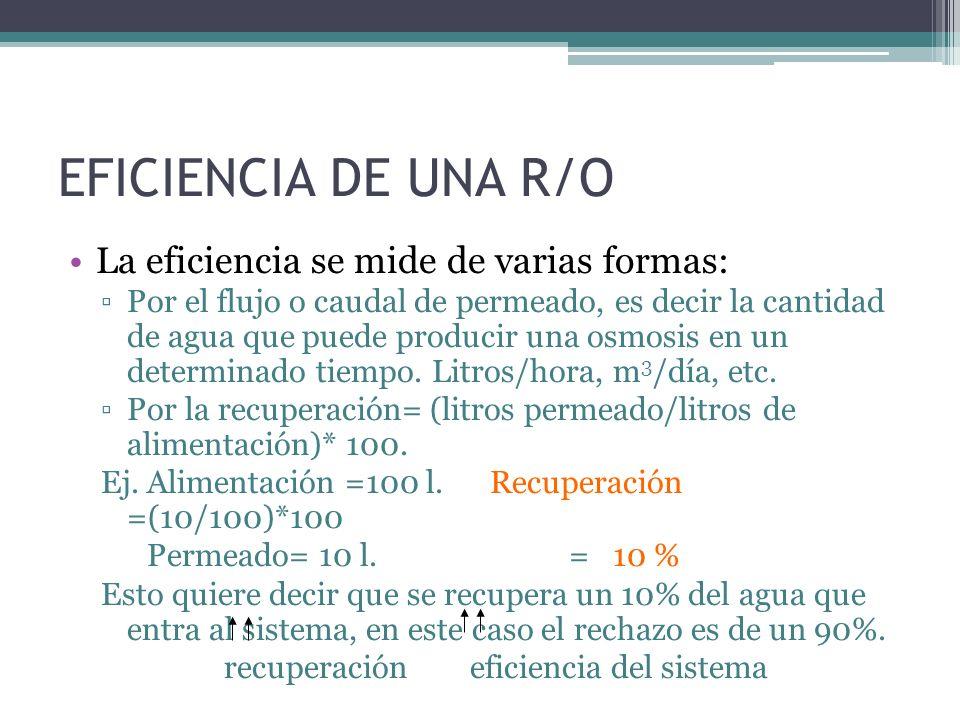 EFICIENCIA DE UNA R/O La eficiencia se mide de varias formas: