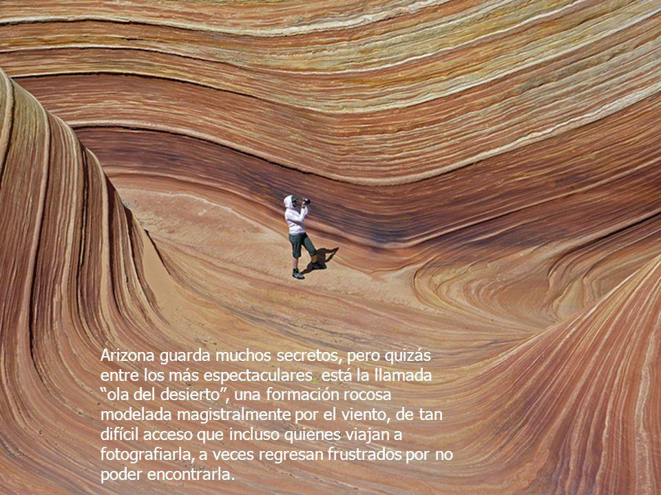 Arizona guarda muchos secretos, pero quizás entre los más espectaculares, está la llamada ola del desierto , una formación rocosa modelada magistralmente por el viento, de tan difícil acceso que incluso quienes viajan a fotografiarla, a veces regresan frustrados por no poder encontrarla.