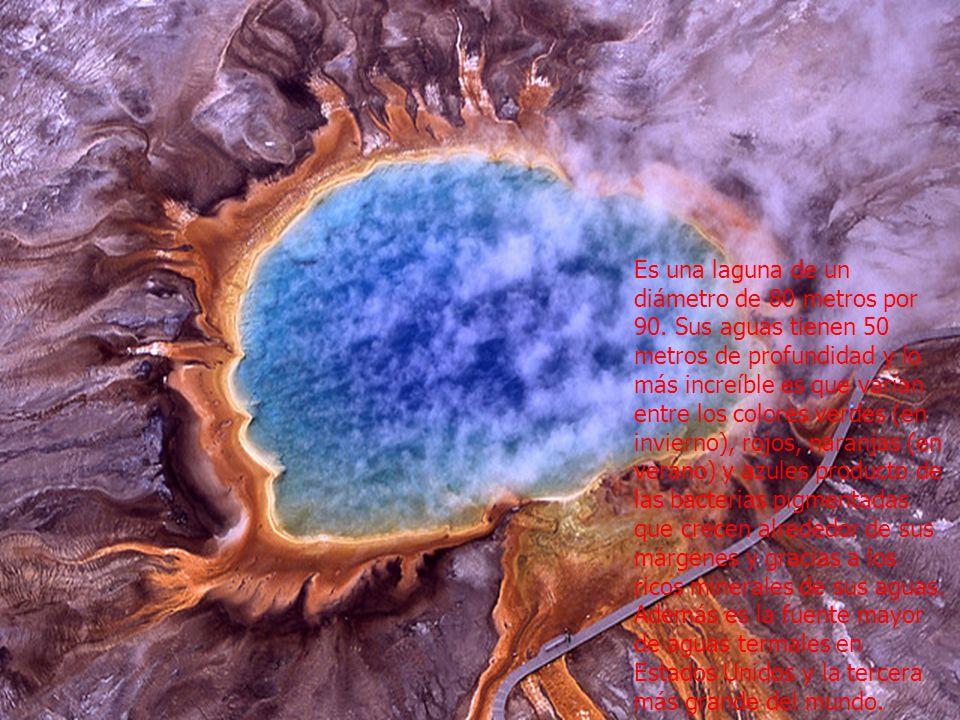 Es una laguna de un diámetro de 80 metros por 90