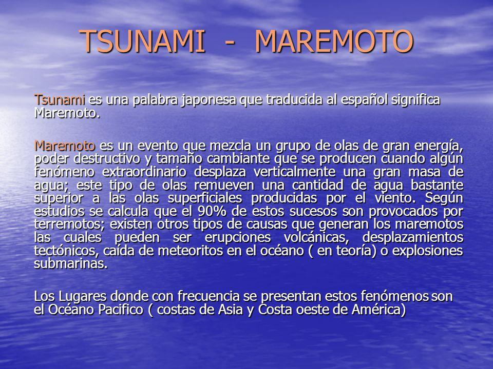 TSUNAMI - MAREMOTO Tsunami es una palabra japonesa que traducida al español significa Maremoto.
