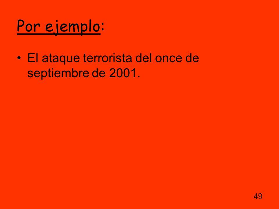 Por ejemplo: El ataque terrorista del once de septiembre de 2001.