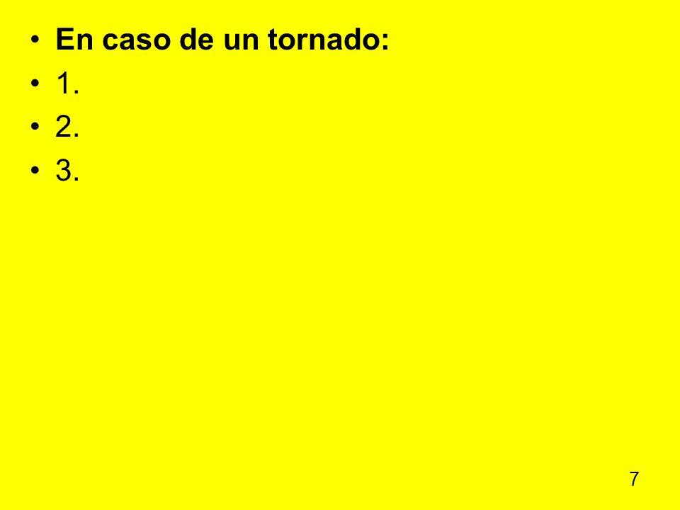 En caso de un tornado: 1. 2. 3.