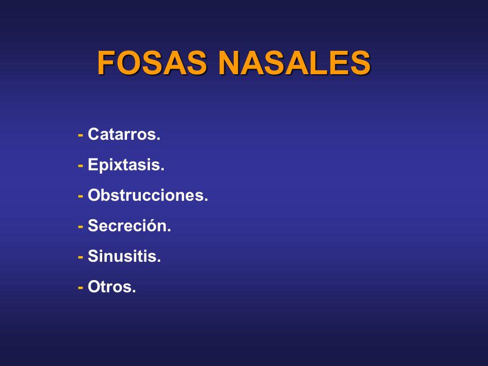 FOSAS NASALES - Catarros. - Epixtasis. - Obstrucciones. - Secreción.