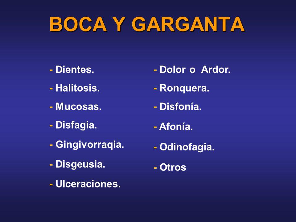 BOCA Y GARGANTA - Dientes. - Halitosis. - Mucosas. - Disfagia.