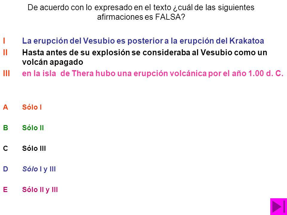 I La erupción del Vesubio es posterior a la erupción del Krakatoa