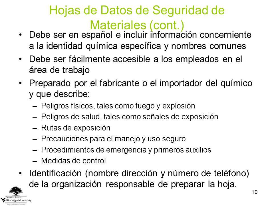 Hojas de Datos de Seguridad de Materiales (cont.)