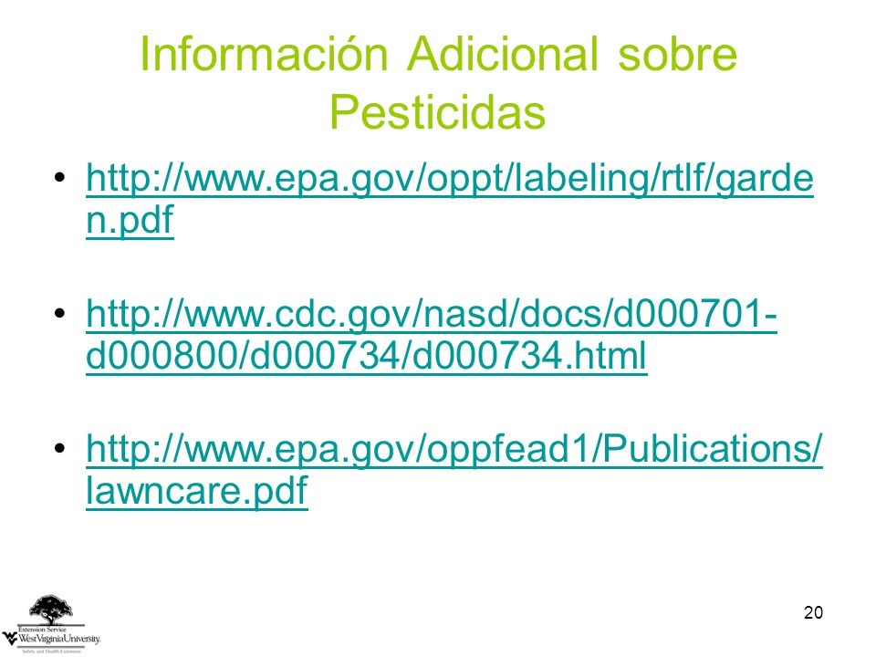 Información Adicional sobre Pesticidas