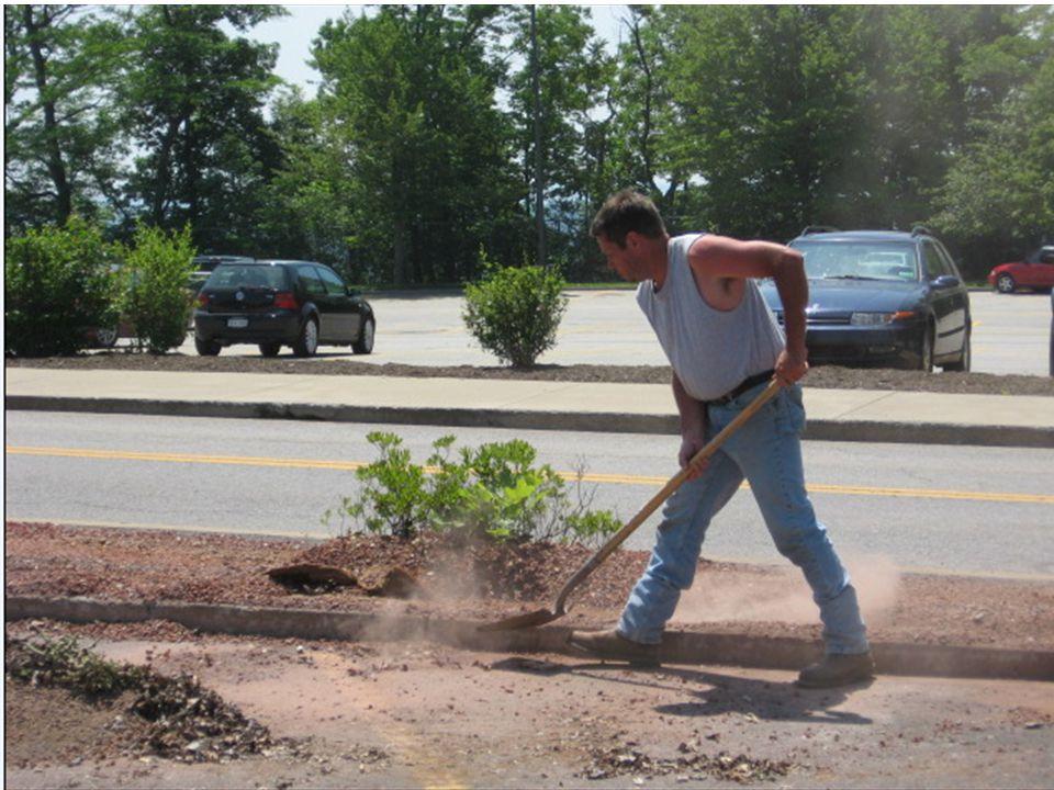 Este trabajador está empujando mantillo el cual puede contener moho