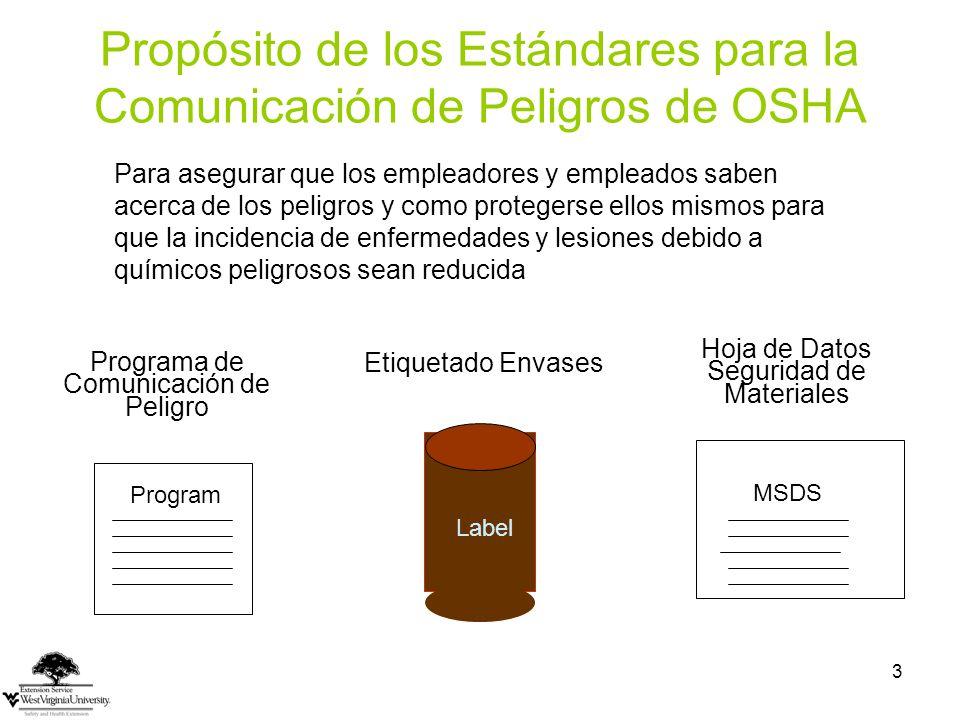 Propósito de los Estándares para la Comunicación de Peligros de OSHA