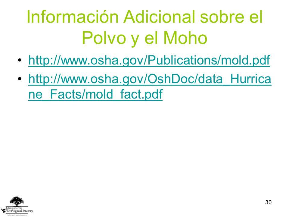 Información Adicional sobre el Polvo y el Moho