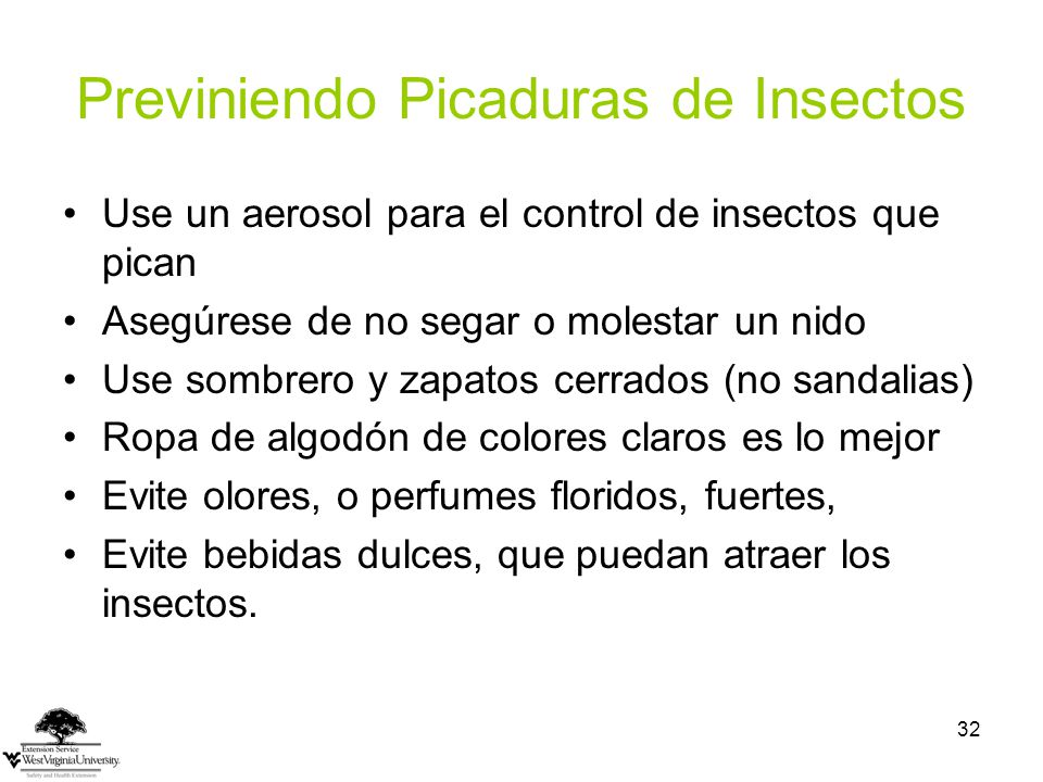 Previniendo Picaduras de Insectos