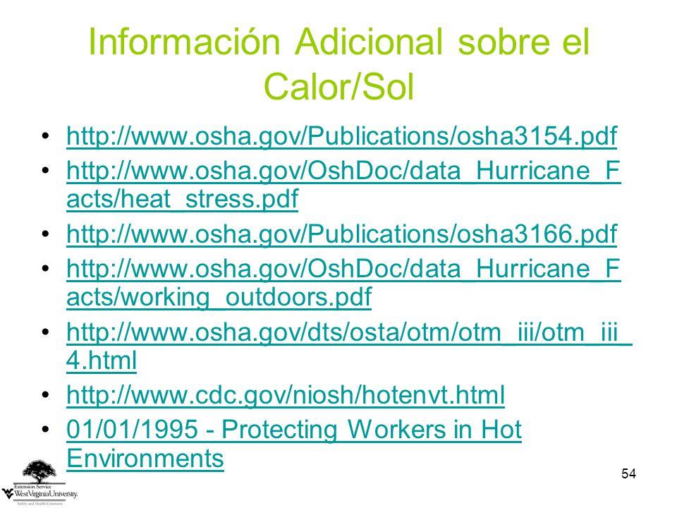 Información Adicional sobre el Calor/Sol