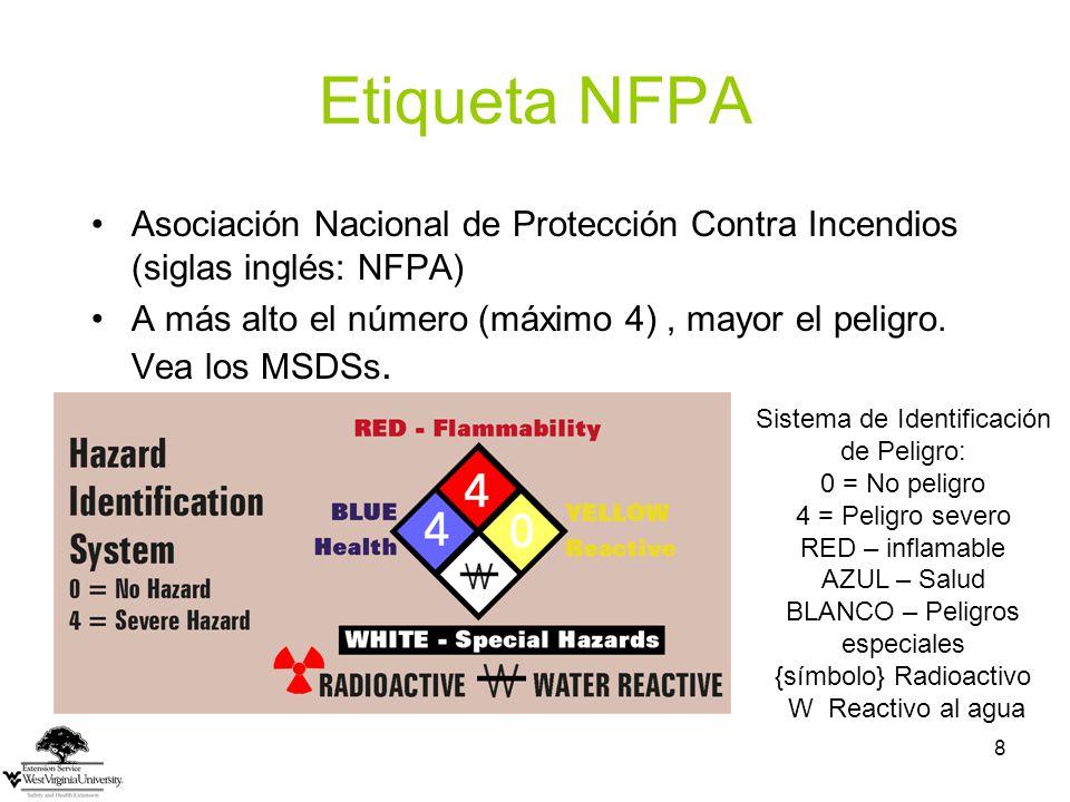 Etiqueta NFPA Asociación Nacional de Protección Contra Incendios (siglas inglés: NFPA)
