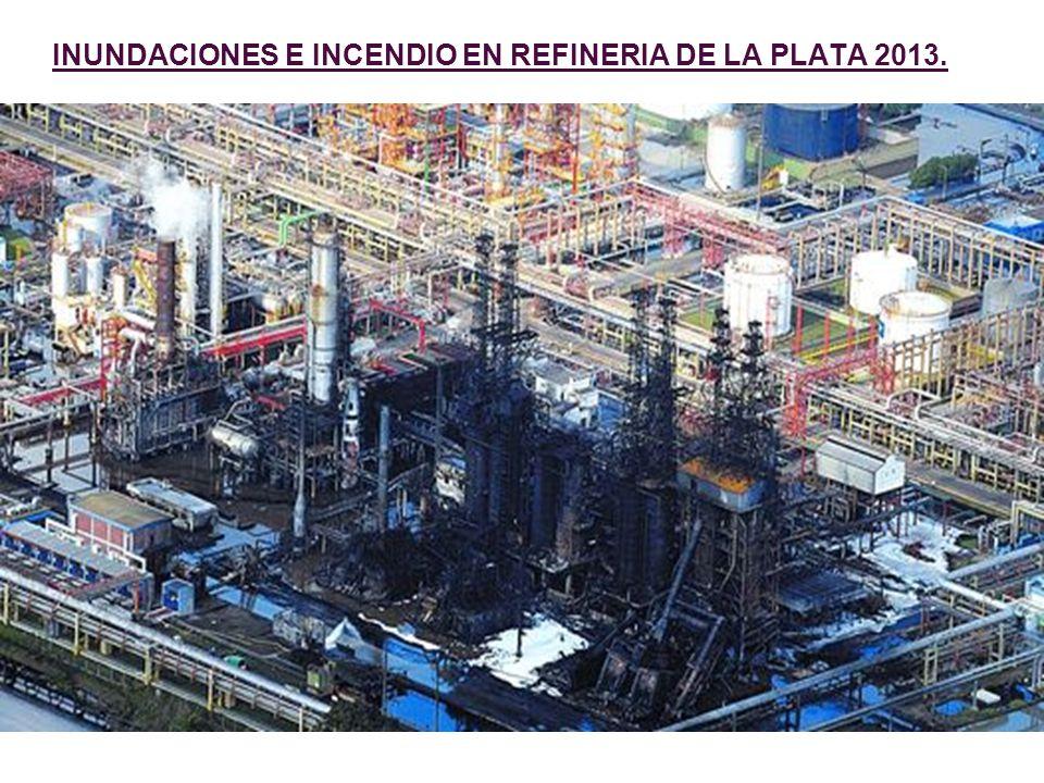 INUNDACIONES E INCENDIO EN REFINERIA DE LA PLATA 2013.