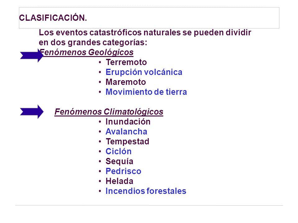 CLASIFICACIÓN. Los eventos catastróficos naturales se pueden dividir. en dos grandes categorías: Fenómenos Geológicos.