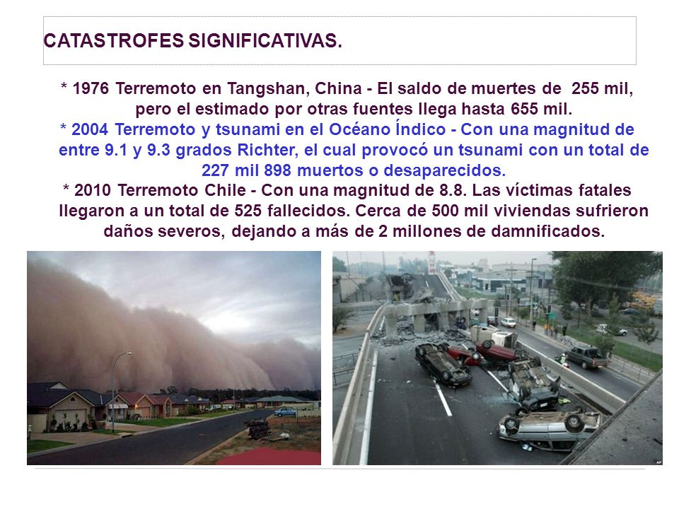 CATASTROFES SIGNIFICATIVAS.