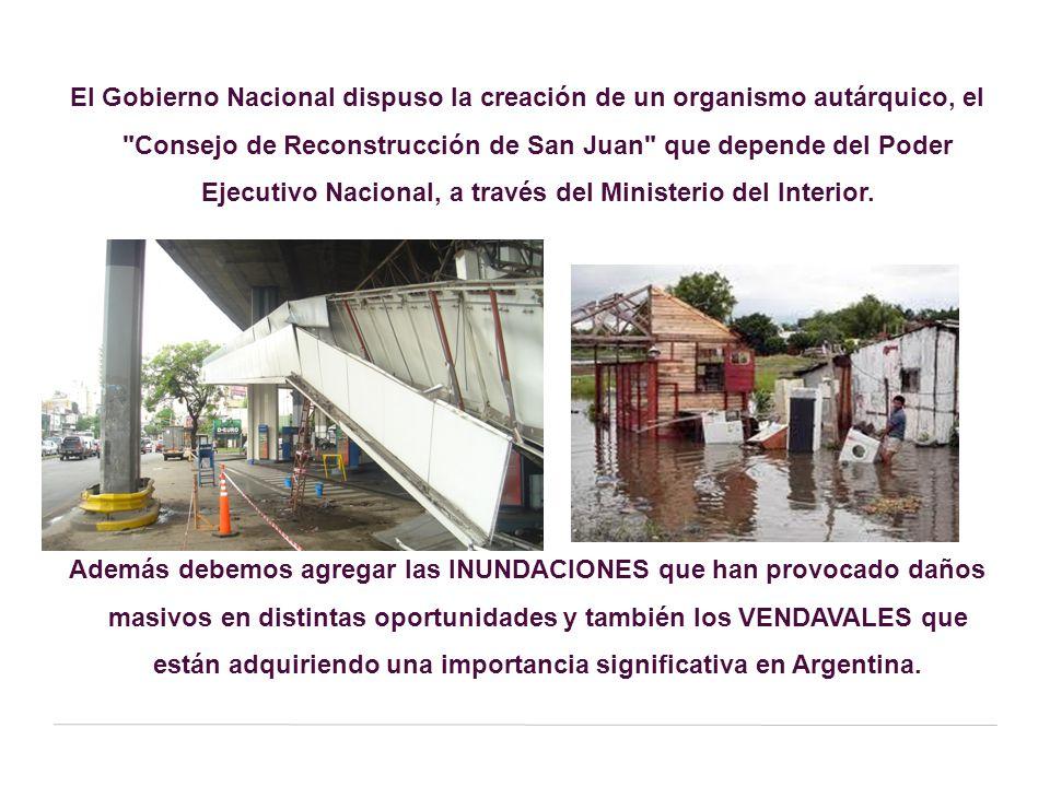 El Gobierno Nacional dispuso la creación de un organismo autárquico, el Consejo de Reconstrucción de San Juan que depende del Poder Ejecutivo Nacional, a través del Ministerio del Interior.