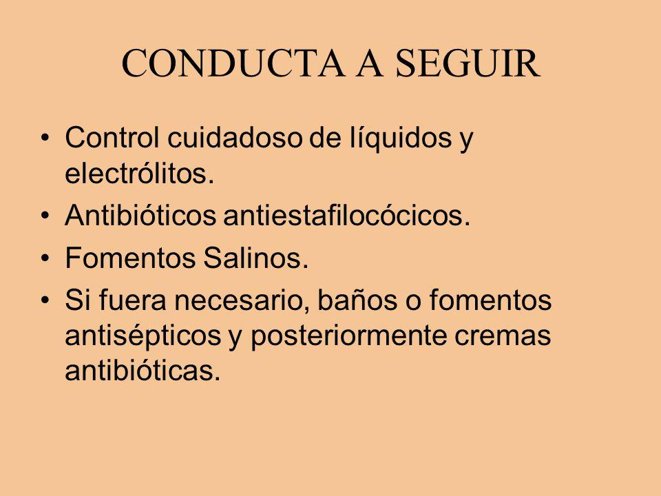 CONDUCTA A SEGUIR Control cuidadoso de líquidos y electrólitos.